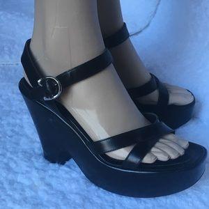 Prada Black Leather Platform Wedges Size 37